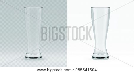 Empty Transparent 3d Rendered Beer Glass For Drinking Alcohol Beverage At The Bar. Realistic  Illust