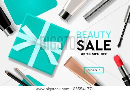 Beauty Sale Template With Cosmetic Products, Gift Boxes, Ads Streamers. Modern Design Vector Illustr