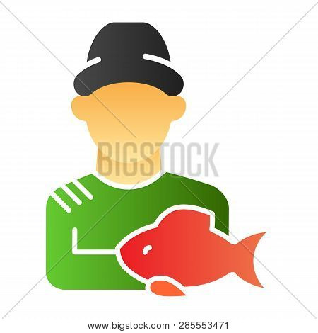 Fisher And The Catch Flat Icon. Angler Color Icons In Trendy Flat Style. Fisherman With Fish Gradien