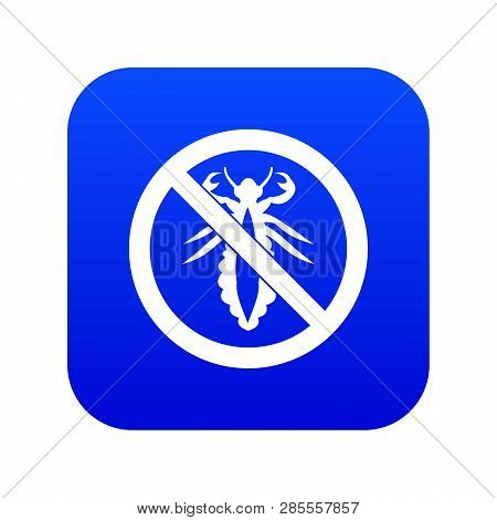 No Louse Sign Icon Digital Blue For Any Design Isolated On White Vector Illustration