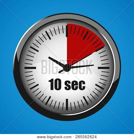 Ten Seconds Clock On Blue Background. Clock 3d Icon. Stopwatch Icon.