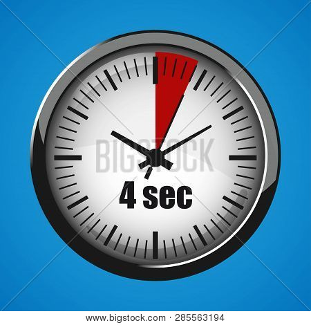 Four Seconds Clock On Blue Background. Clock 3d Icon. Stopwatch Icon.