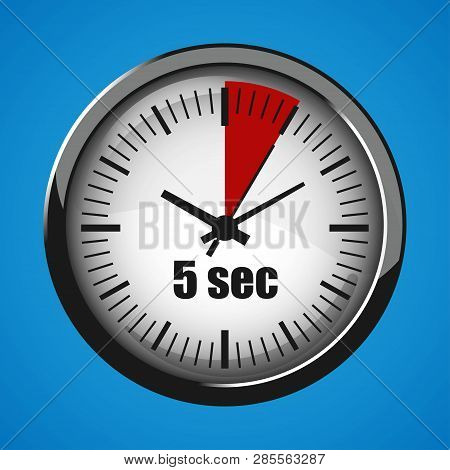 Five Seconds Clock On Blue Background. Clock 3d Icon. Stopwatch Icon.