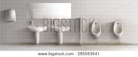 Dirty Public Mens Toilet 3d Realistic Vector Interior. Row Of Rusty And Stained Urinals, Ceramic Sin