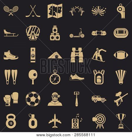 Active Sport Icons Set. Simple Style Of 36 Active Sport Vector Icons For Web For Any Design
