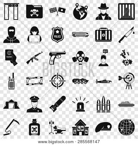 Antiterrorist Organization Icons Set. Simple Style Of 36 Antiterrorist Organization Vector Icons For