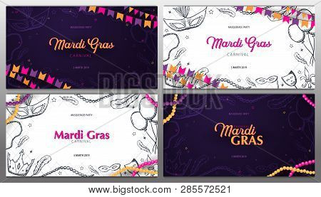 Set Of Banners Mardi Gras Carnival Party. Masquerade. Fat Tuesday, Festival. Vector Illustration.