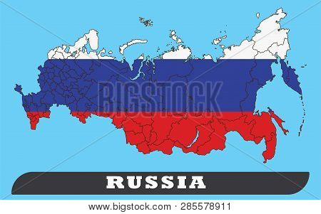 Russia Map And Russia Flag. Russia Map And Russia Flag Use For Background Drawing By Illustration