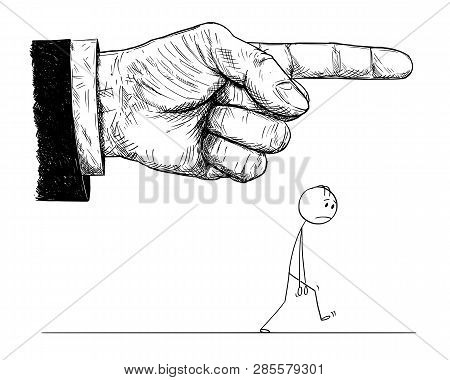 Cartoon Stick Figure Drawing Conceptual Illustration Of Frustrated Man Walking While Big Hand In Sui