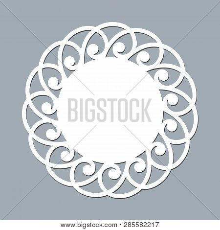 Lace Doily Laser Cut Paper Round Pattern Ornament Template Mockup Of A White Lace Doily Napkin Laser
