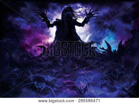 Illustration A Polymorph Vampire Turning Into Bats