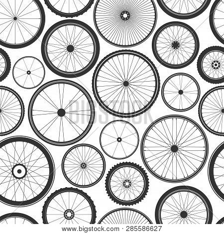 Bicycle Wheel Seamless Pattern. Bike Rubber Mountain Tyre, Valve. Fitness Cycle, Mtb, Mountainbike.