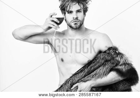 Guy Attractive Rich Posing Fur Coat On Naked Body. Rich Athlete Enjoy His Life. Richness And Luxury