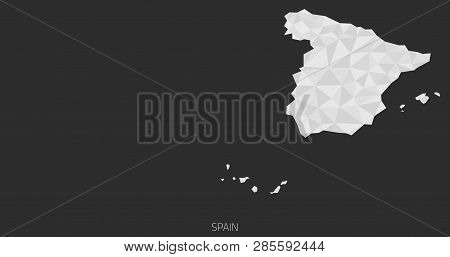 Spain Polygonal Map. Grayscale Spain Travel Map. Spain Cartography Background. Abstract Spain Map.