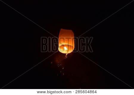 Launching Floating Lanterns Yeepeng Festival In Chiangmai City Thailand.