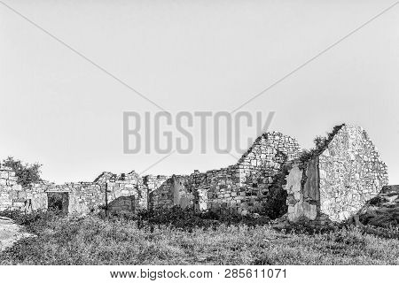An Historic Ruin At Matjiesfontein Farm In The Northern Cape Province Of South Africa. Monochrome