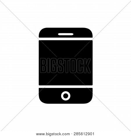 Flat Monochrome Mobile Phone Illustration For Web Sites And Apps. Minimal Simple Black And White Mob