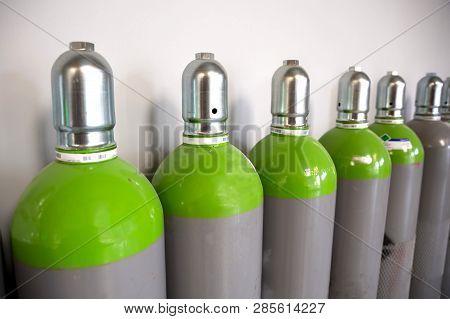 Seamless Steel Industrial Gas Cylinders. Pressurized Cylinder. Industrial Stainless Steel Bottles In