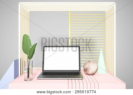 Mock Up Laptop Over Abstract Gray Background