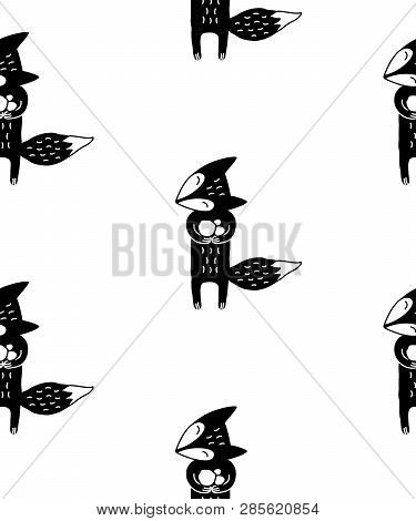 Cute Cartoon Animal Pattern With Hand Drawn Fox. Sweet Vector Black And White Animal Pattern. Seamle