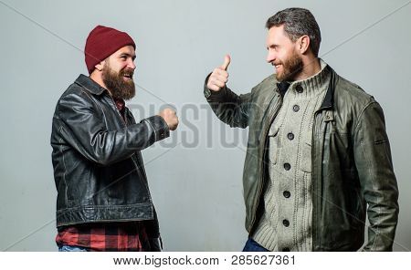 Male Friendship Concept. Brutal Bearded Men Wear Leather Jackets. Real Men And Brotherhood. Friends