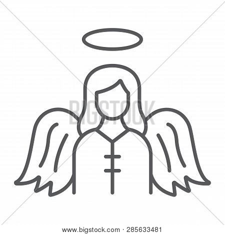Angel Thin Line Icon, Religion And Heaven, Character Sign, Vector Graphics, A Linear Pattern On A Wh