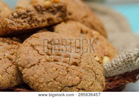 Peanut Cookies On A Homespun Cloth With Peanut And Cookies. No Shugar Added. Peanut Butter. Peanut B