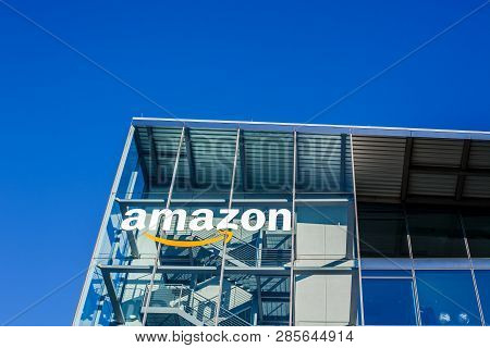 Munich, Germany - December 26, 2018: Amazon Logo At The Company Office Building Located In Munich, G