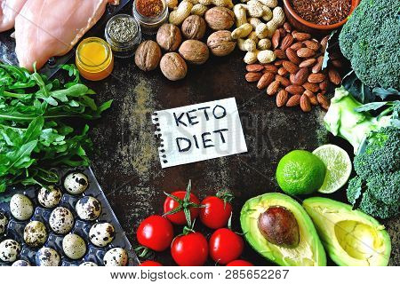Ketogenic Diet Concept. A Set Of Products Of The Low Carb Keto Diet. Green Vegetables, Nuts, Chicken