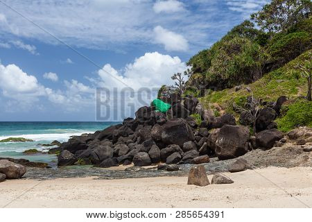 Large Painted Stone Frog At Froggies Beach In Coolangatta, Qld, Australia
