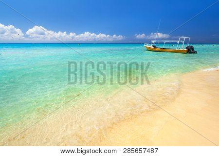 Beautiful Caribbean Sea beach in Playa del Carmen, Mexico
