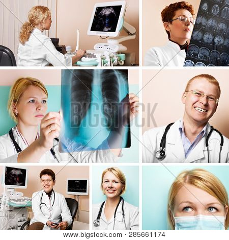 Collage of several photos for medical and healthcare industry. Friendly, qualified and experienced staff concept.