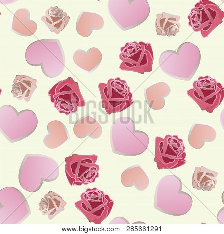 Seamless Pattern Of Hand Drawn Roses And Hearts