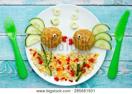 Food Art Idea Healthy Lunch For Kids Chicken Meatballs With Bulgur Porridge And Fresh Vegetables Sha