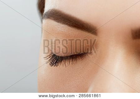 Eyebrow Correction. Closeup Of Beautiful Young Woman With Perfect Makeup And Long Lashes Plucking Ey