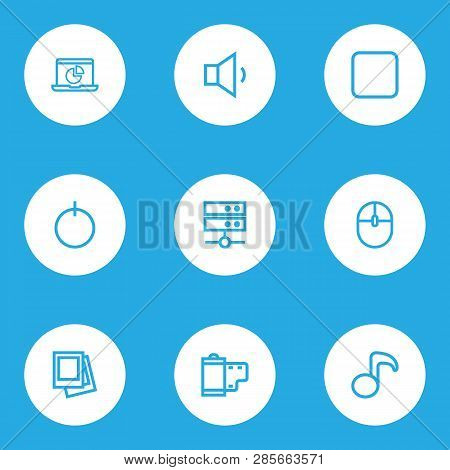 Multimedia Icons Line Style Set With Film, Start, Gallery And Other Quaver Elements. Isolated Vector