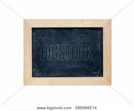 Vintage Slate Chalk Board In Wooden Frame Isolated On White Background