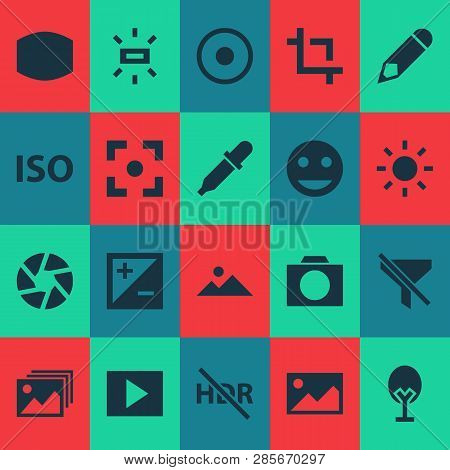 Photo Icons Set With Exposure, Shutter, Photographing And Other Mode Elements. Isolated  Illustratio