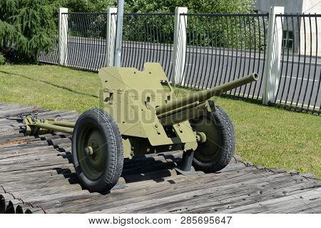Moscow, Russia - June 20, 2018: 45-mm Battalion Anti-tank Gun 53-k Of 1937 Type In The Museum Of Mil