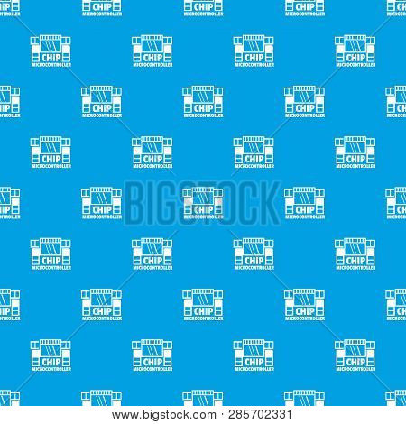 Chip Microcontroller Pattern Vector Seamless Blue Repeat For Any Use