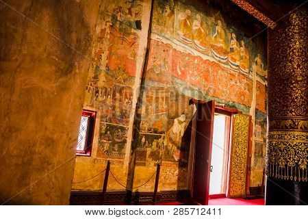 Phumin Temple, Nan, Thailand, July 9, 2017 :  Mural Painting Inside Of Temple