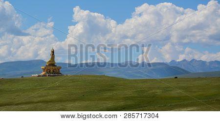 Big Buddha In Garze Tibetan, Sichuan, China. Tibetan Buddhism Is Historically The Predominant Religi