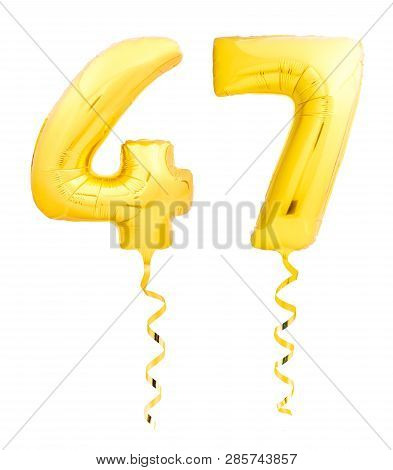 Golden Number Forty Seven 47 Made Of Inflatable Balloon With Ribbon On White