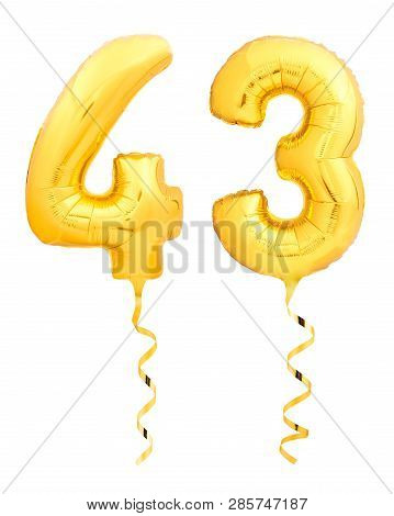Golden Number Forty Three 43 Made Of Inflatable Balloon With Ribbon On White