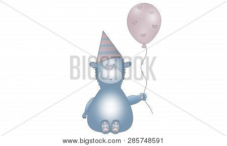 Cute Illustration Of Blue Fantasy Animal Creature With Balloon, Party Hat And Hearts, Isolated On Wh