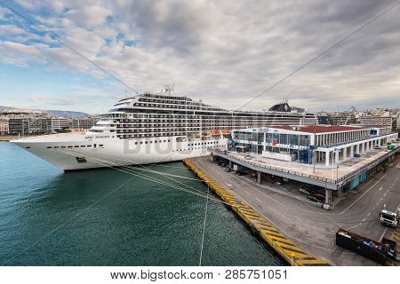 Piraeus, Greece - November 1, 2017: Cruise Ship Msc Poesia Of The Company Msc Cruises, Docked At The