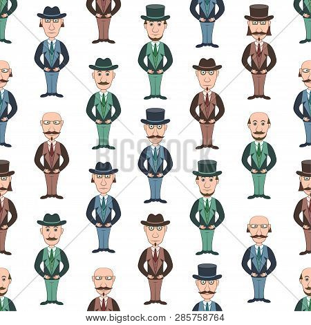 Seamless Background With Strict Slender Gentleman In Glasses, Hat And Business Suit, Funny Cartoon C
