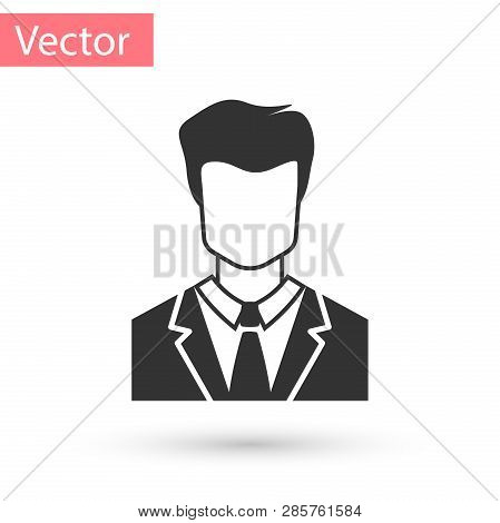 Grey User Of Man In Business Suit Icon Isolated On White Background. Business Avatar Symbol - User P