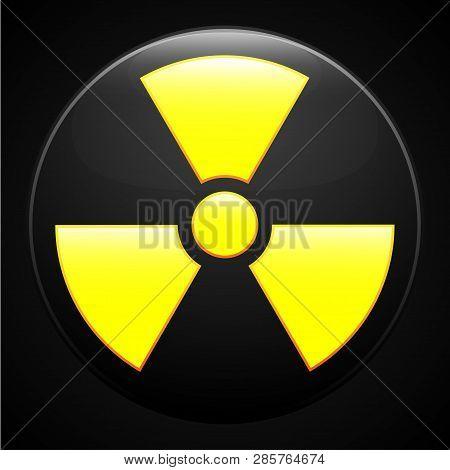 Fun Yellow Radiation Sign On Black Background