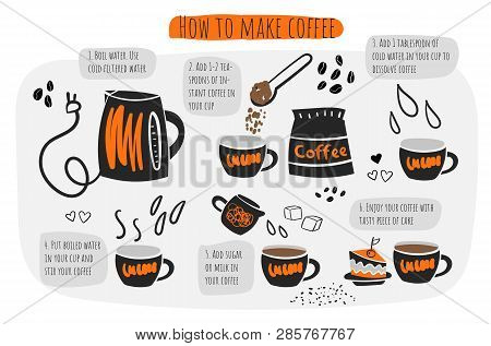 How To Make Coffee Infographic, Instructions, Steps, Advises